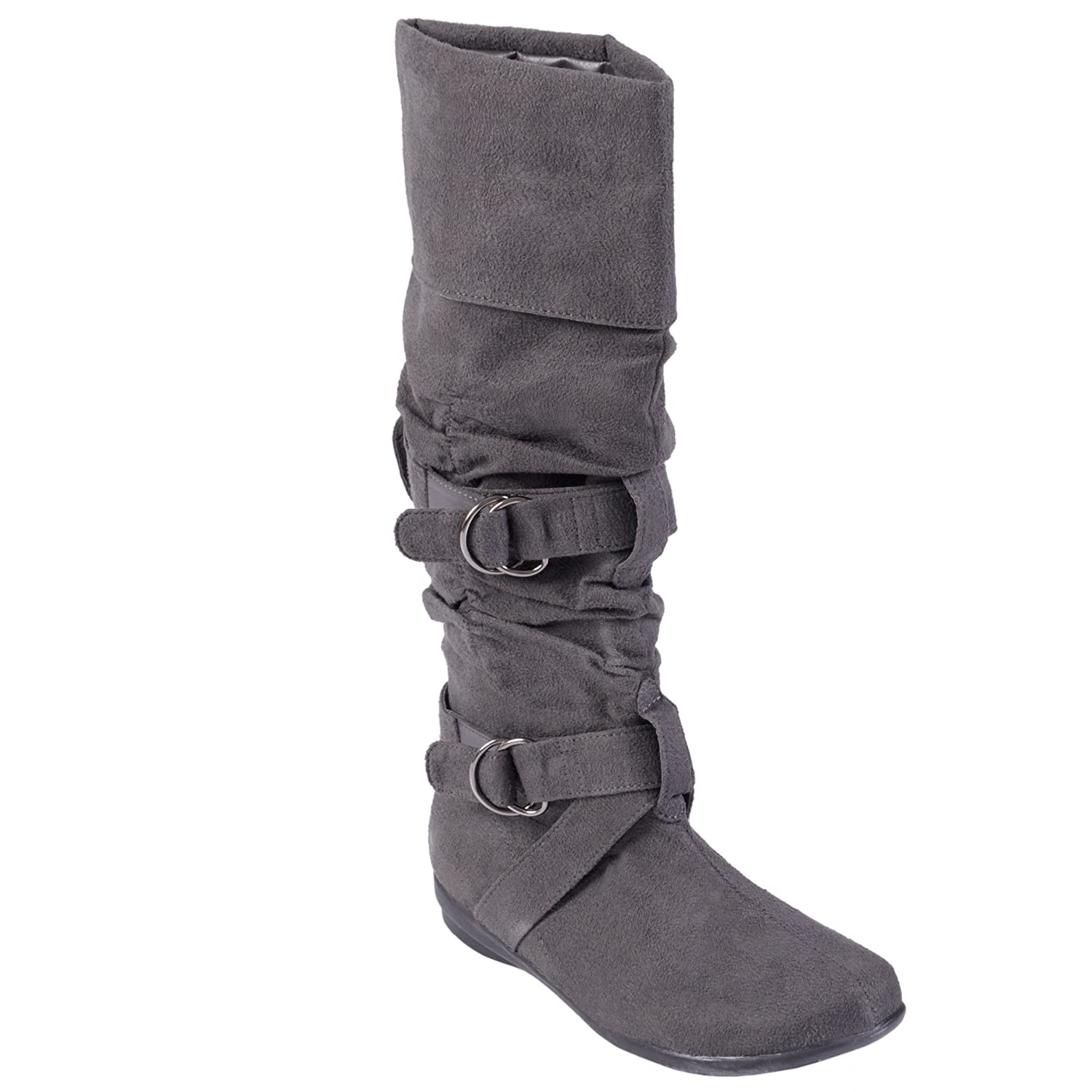 9f6a207116a Amazon.com | Bamboo by Journee Zen Faux Suede Boots Grey | Mid-Calf