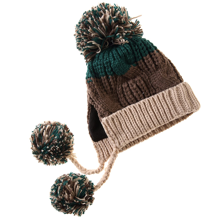 8cbdd027ee0 Dosoni Women Winter Pom Pom Hats Knit Soft Warm Earflap Hood Cozy Beanies  (Beige)  Amazon.ca  Clothing   Accessories