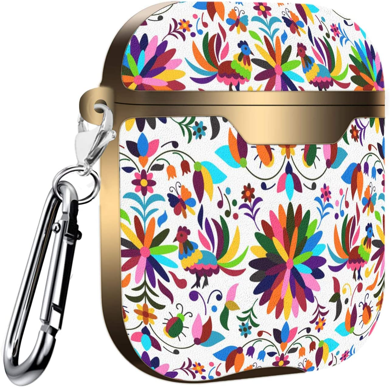Slim Form Fitted Printing Pattern Cover Case with Carabiner Compatible with Airpods 1 and AirPods 2 Mexican Otomi Style Bright Pattern
