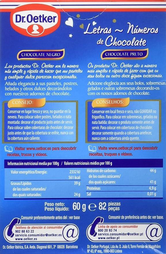 Dr. Oetker - Letras y números de chocolate - Chocolate negro - 82 ...