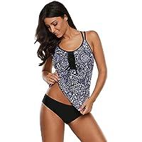 EVALESS Women's Floral Printed Shoulder Straps Bandeau Tnakini Top with Bikini Bottom Swimsuit Set