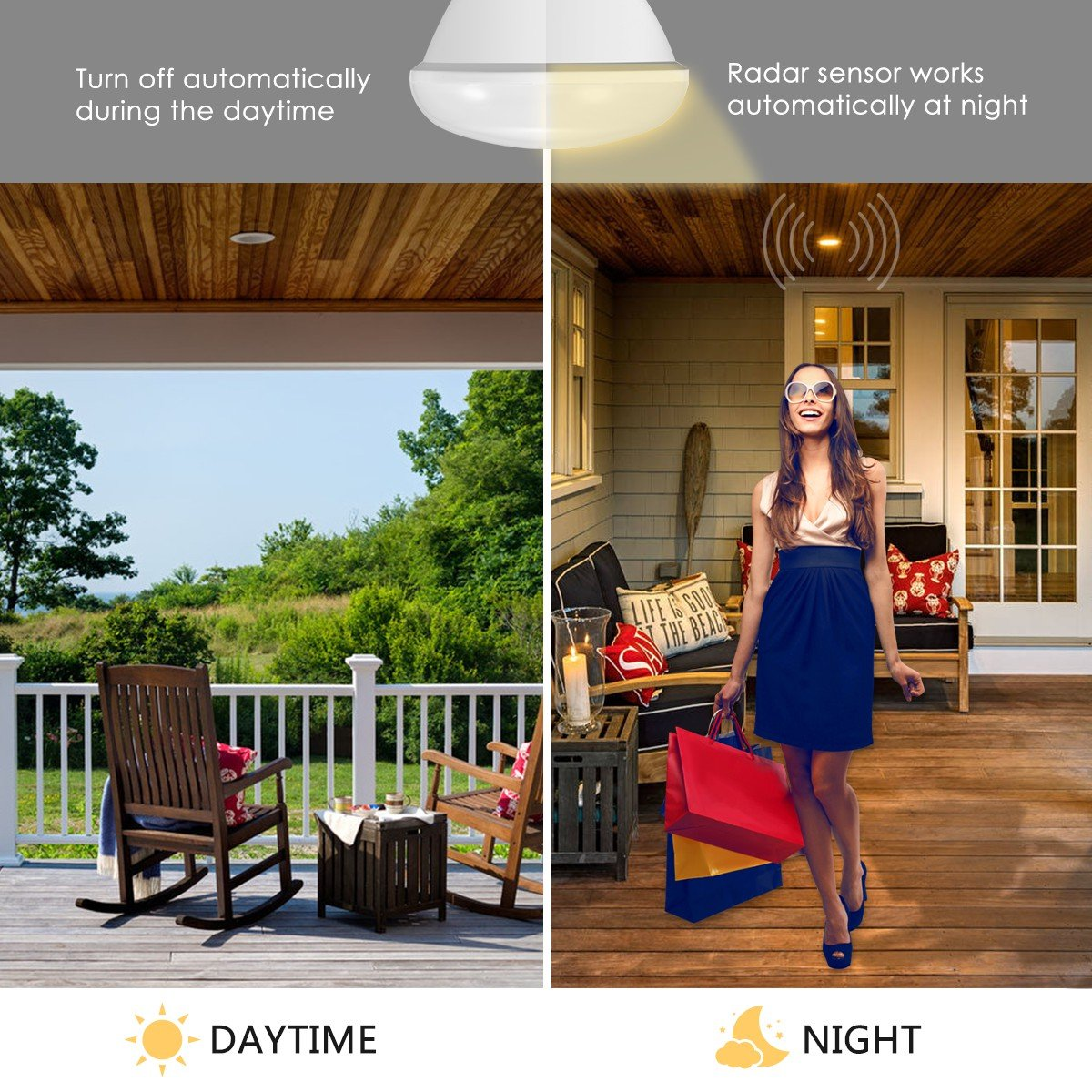 Porch Lights Security Outdoor 4PACK 500 Lumens LOHAS Amber Light Sensor Dusk to Dawn LED Bulbs Smart Sensor Lighting 2000K Bugs Free E26 GK Lighting Bug Light Bulb Yellow LED A19 40W Amber LED Auto on//Off