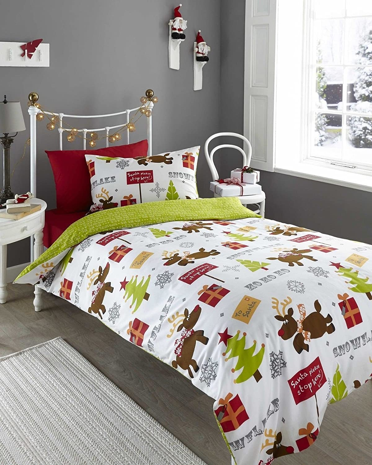 Exceptional Christmas Bed Linen Sets Part - 6: Reindeer Rudolf Single Duvet Cover U0026 P/case Bedding Bed Set Christmas Xmas  By Homespace Direct: Amazon.co.uk: Kitchen U0026 Home