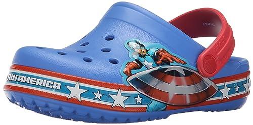 a19b1104d crocs Boy s Crocband Captain America Clog Varsity Blue and Red Clogs-C12  (202678-