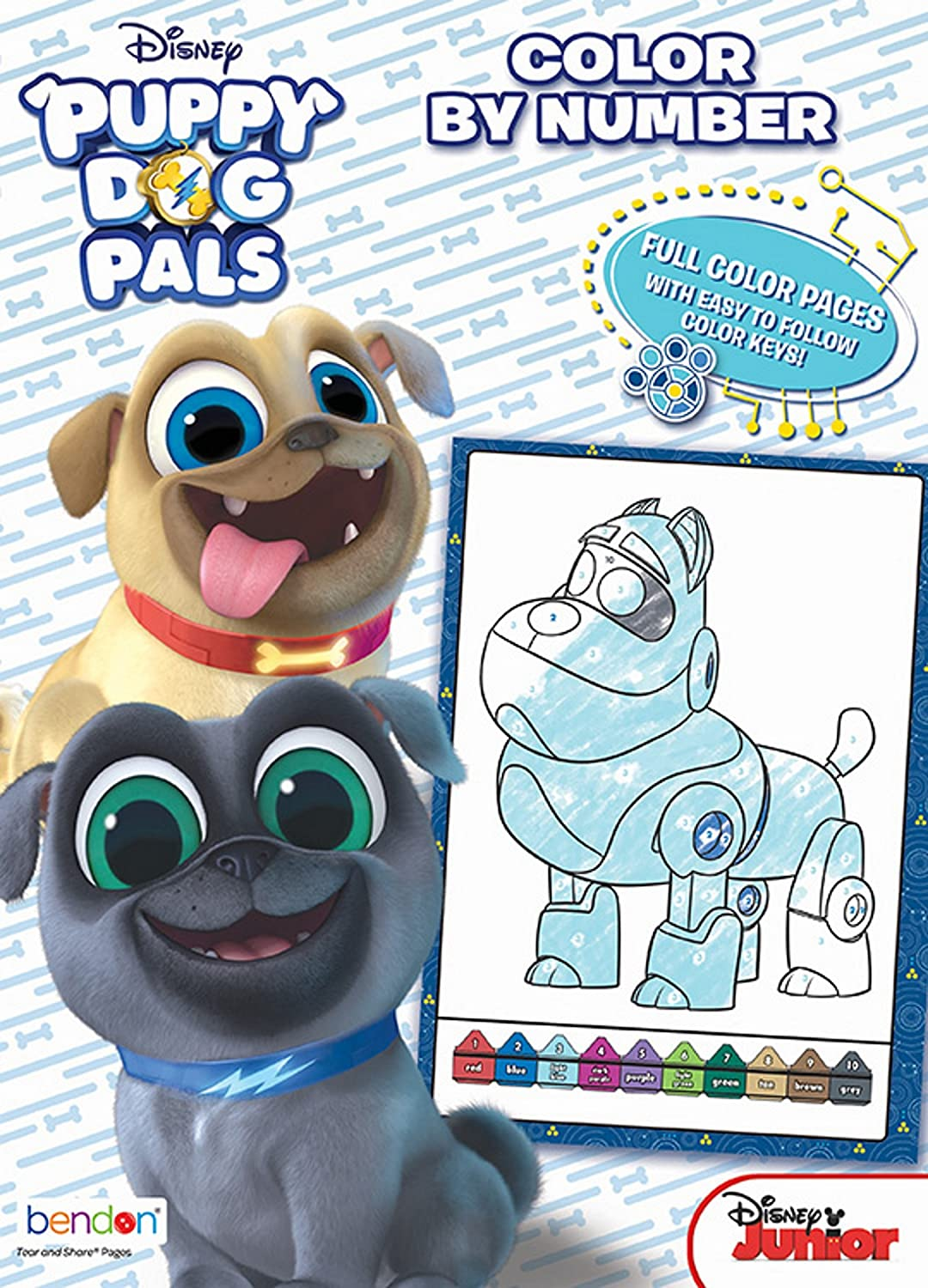 Amazon.com: Bendon Puppy Dog Pals 48-Page Color by Number Coloring ...