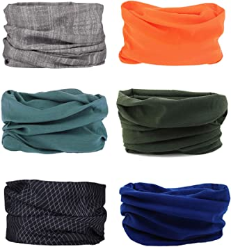 Elastique Tube Bandeaux Echarpe Gaiter Balaclava Masque UV R/ésidence pour Yoga Course /à Pied Randonn/ée Cyclisme 6pcs Cache Cou Moto Sinwind Multifonction Bandana