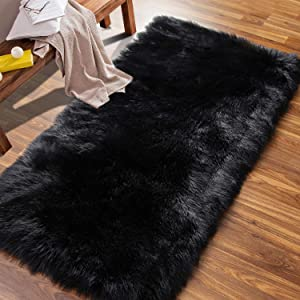 ISEAU Soft Faux Fur Fluffy Area Rug, Luxury Fuzzy Sheepskin Carpet Rugs for Bedroom Living Room, Shaggy Silky Plush Carpet Bedside Rug Floor Mat, 2ft x 4ft, Black