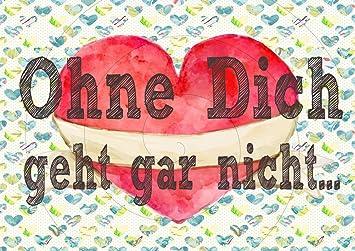 Wolga Kreativ Postkarte Spruch Ohne Dich Geht Gar Nicht Liebe