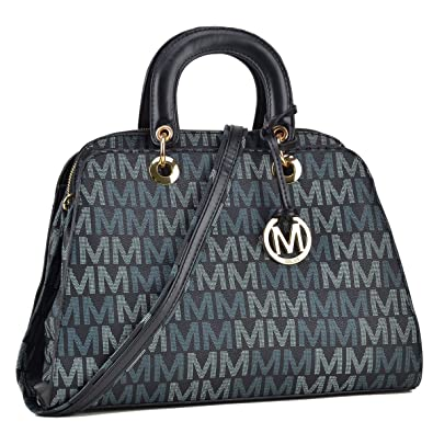 7f8ff0df2e3c MMK Collection Monogram Logo Vegan Leather Semi Dome Shape Women  Multi-Functional Satchel and belted