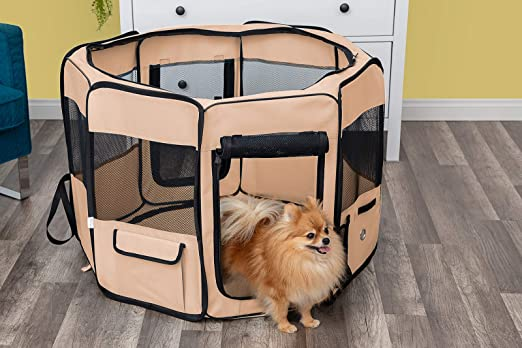 Dog Playpen with Blanket Portable Soft Sided Mesh Indoor /& Outdoor Exercise Play Pen for Pets