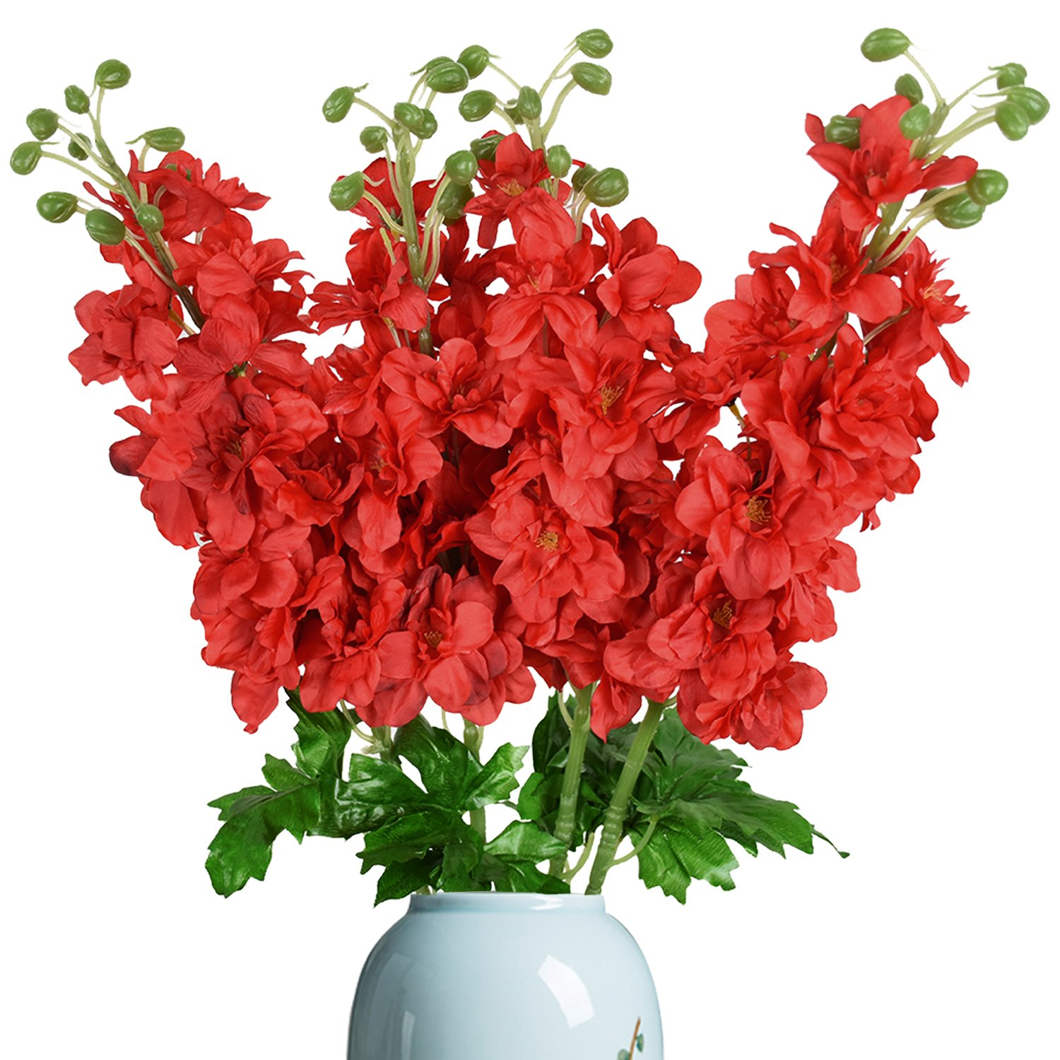 SUNMブティック4パック人工Delphinium Flowers with Full Blooming人工花植物ウェディングホーム装飾 Pack of 4 レッド B07F252DN8 レッド Pack of 4