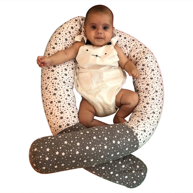 iOBaby Bumper Snake, 79'' Crib Bumper, Crib Pillow, Junior Bed Sleep Bumper (Grey & White)