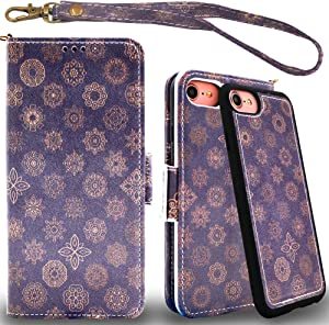 Mefon Detachable Leather Wallet Phone Case, with Tempered Glass and Wrist Strap, Durable Slim, Luxury Flip Folio Cases for Apple iPhone 8 7, 6S 6, iPhone SE 2020 (2nd Gen) 4.7 inch (Mandala 1)