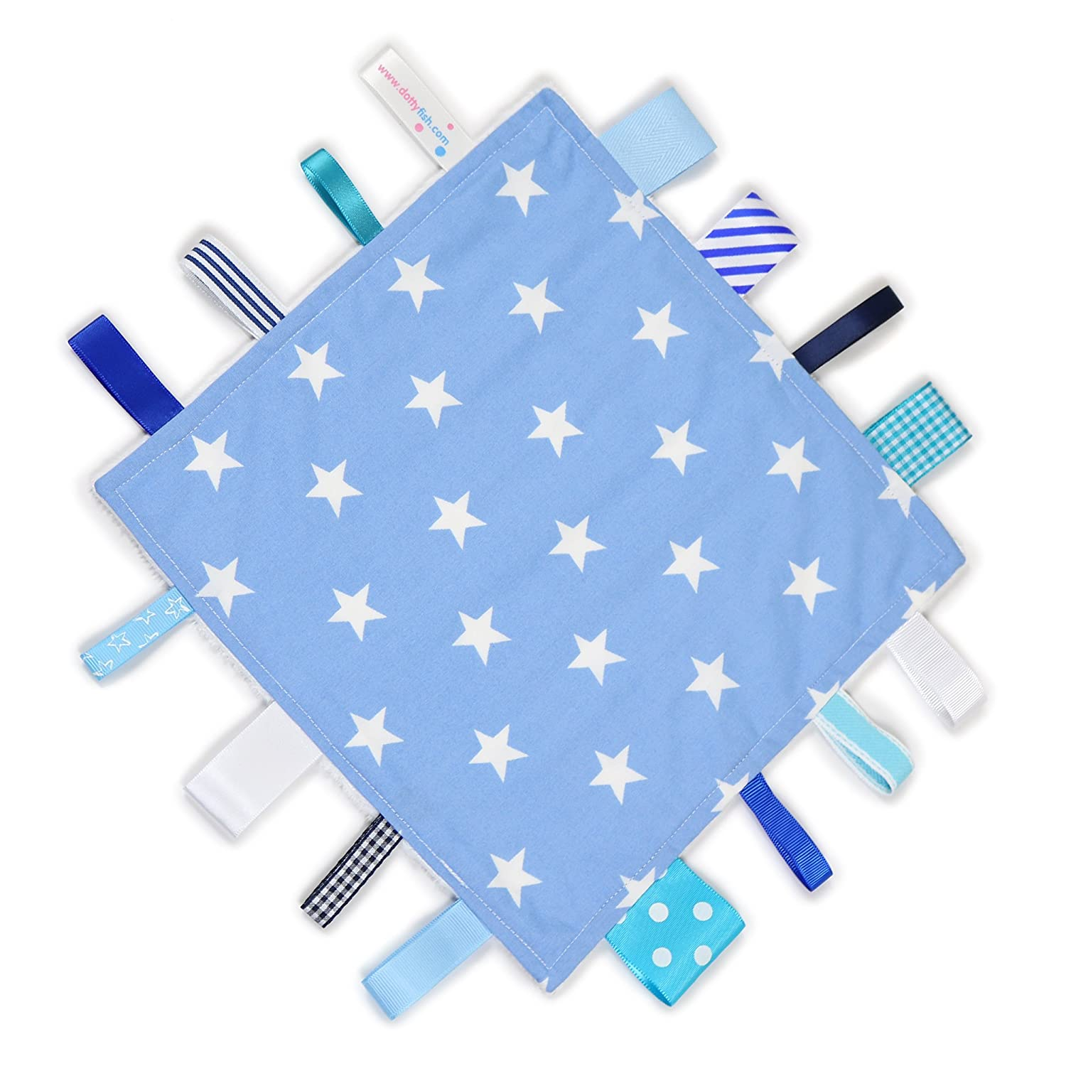 Blue with Nautical theme and Minky Fleece backing. Dotty Fish Baby Tag Blanket with Cuddle Soft Backing Handmade Baby Taggie Blanket Sensory Blanket for Baby Boys and Girls