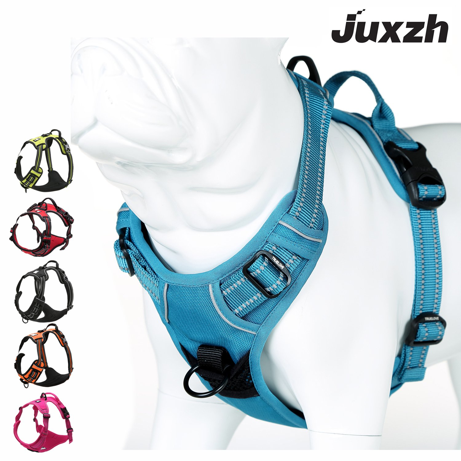 JUXZH Soft  Dog Harness .3M Reflective No Pull Harness with handle and Two Leash Attachments by juxzh