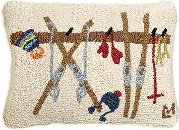 Chandler 4 Corners Artist Designed Ski Rack Hand Hooked Wool Decorative Throw Pillow 14 X 20 Home Kitchen