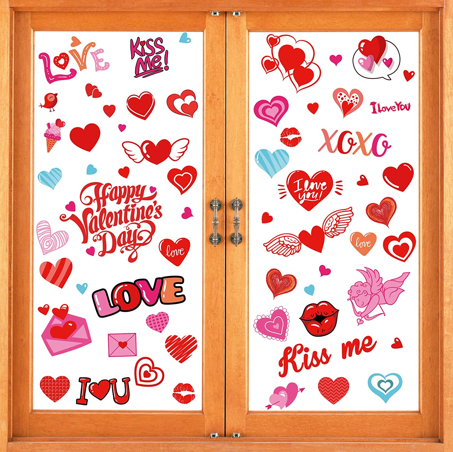 jollylife 230PCS Valentine's Day Window Clings Decorations - Heart Decal Party Ornaments Supplies