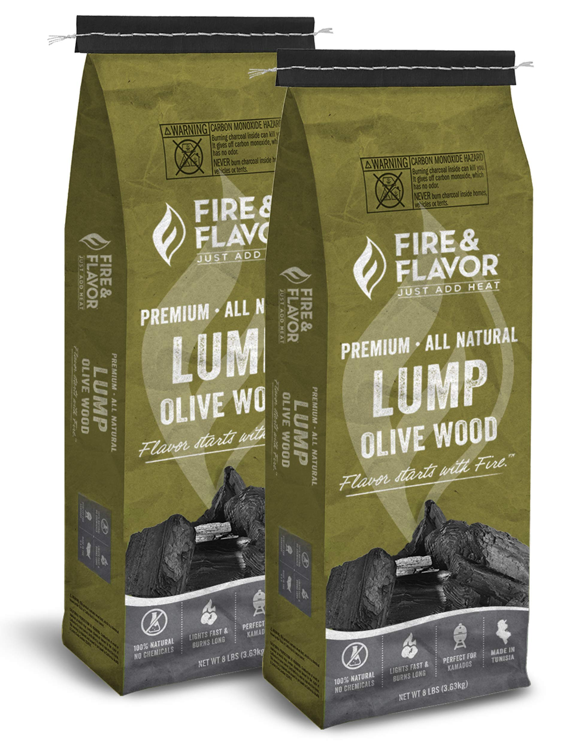 Fire & Flavor Premium All Natural Olive Wood Lump Charcoal 2 Pack by Fire & Flavor