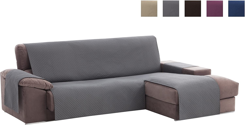 Textilhome - Funda Cubre Sofá Chaise Longue Adele, Protector para Sofás Acolchado Brazo Derecho. Tamaño -240cm. Color Gris (Visto DE Frente)