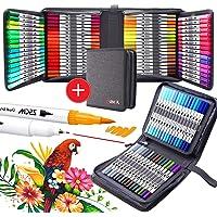 Rotuladores de Pincel Acuarelables, 100 colores Rotuladores de doble punta fina Fineliner Plumas para Adulto libros de…