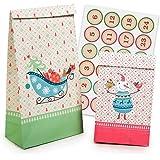 Pajoma 50212, Noël Set Christmas, 2Tailles, 24Pochettes Cadeaux, avec Chiffres d'autocollants