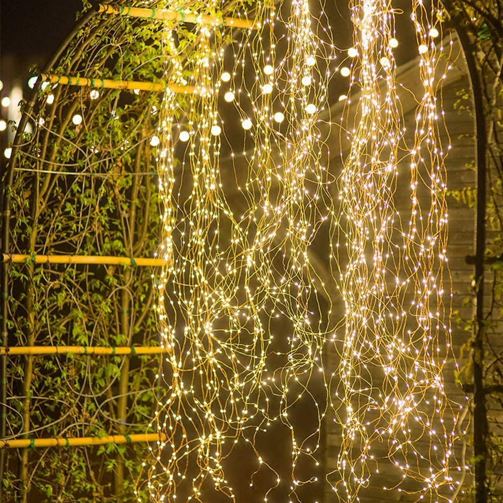 24HOCL 10 Strands 200 LEDs Twinkle Fairy Lights, Waterproof Decoration Waterfall Vine String Light Golden Copper Wire Warm White Lights for Halloween Christmas Tree Garden Outdoor
