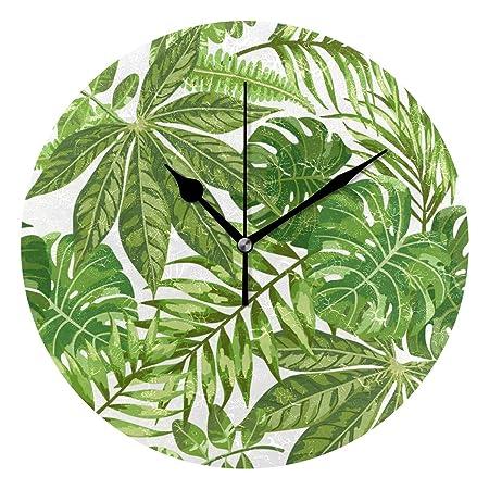 EZIOLY - Reloj de Pared con Hojas de Palma Verde exótica, 25,4 cm, silencioso, no se rasca, Funciona con Pilas, Redondo, para casa, Oficina, Escuela, ...