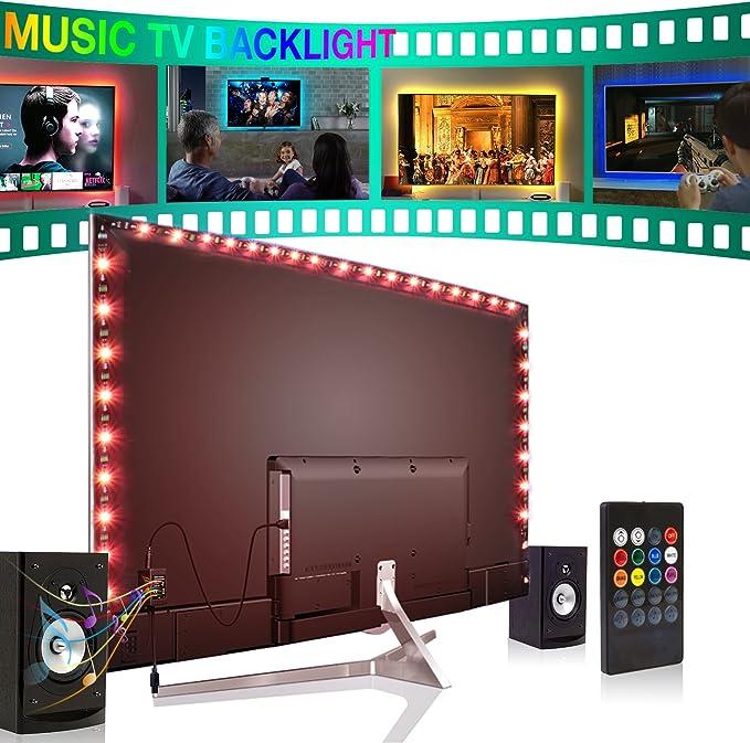 Forest leuchten - Tira de luces LED para TV de 40 a 60 pulgadas, kit de retroiluminación LED con mando a distancia: Amazon.es: Iluminación