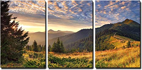 Amazon Com Wall26 Sunrise In The Mountains Canvas Art Wall Art 24 X36 X3 Panels Posters Prints