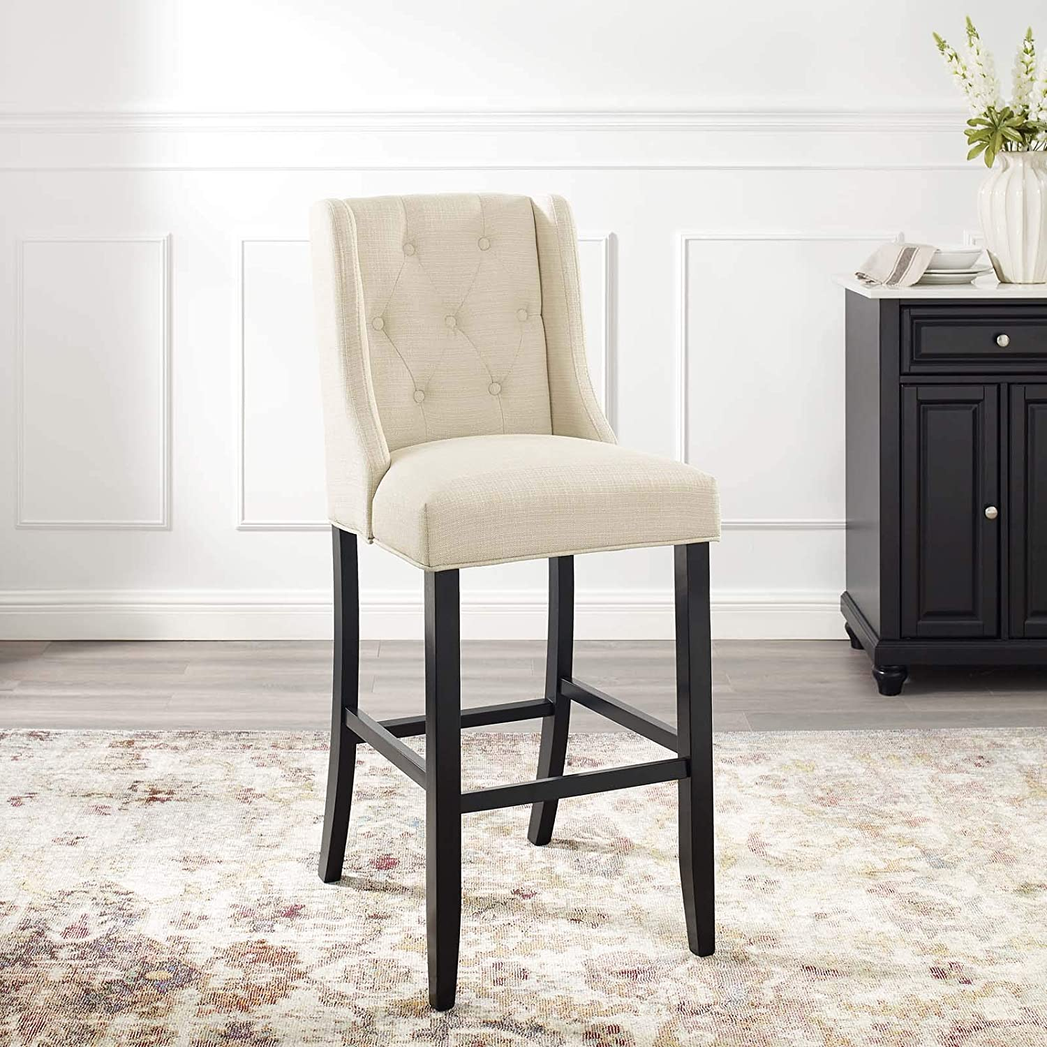 Modway Baronet Tufted Button Fabric Bar Stool in Beige, 1