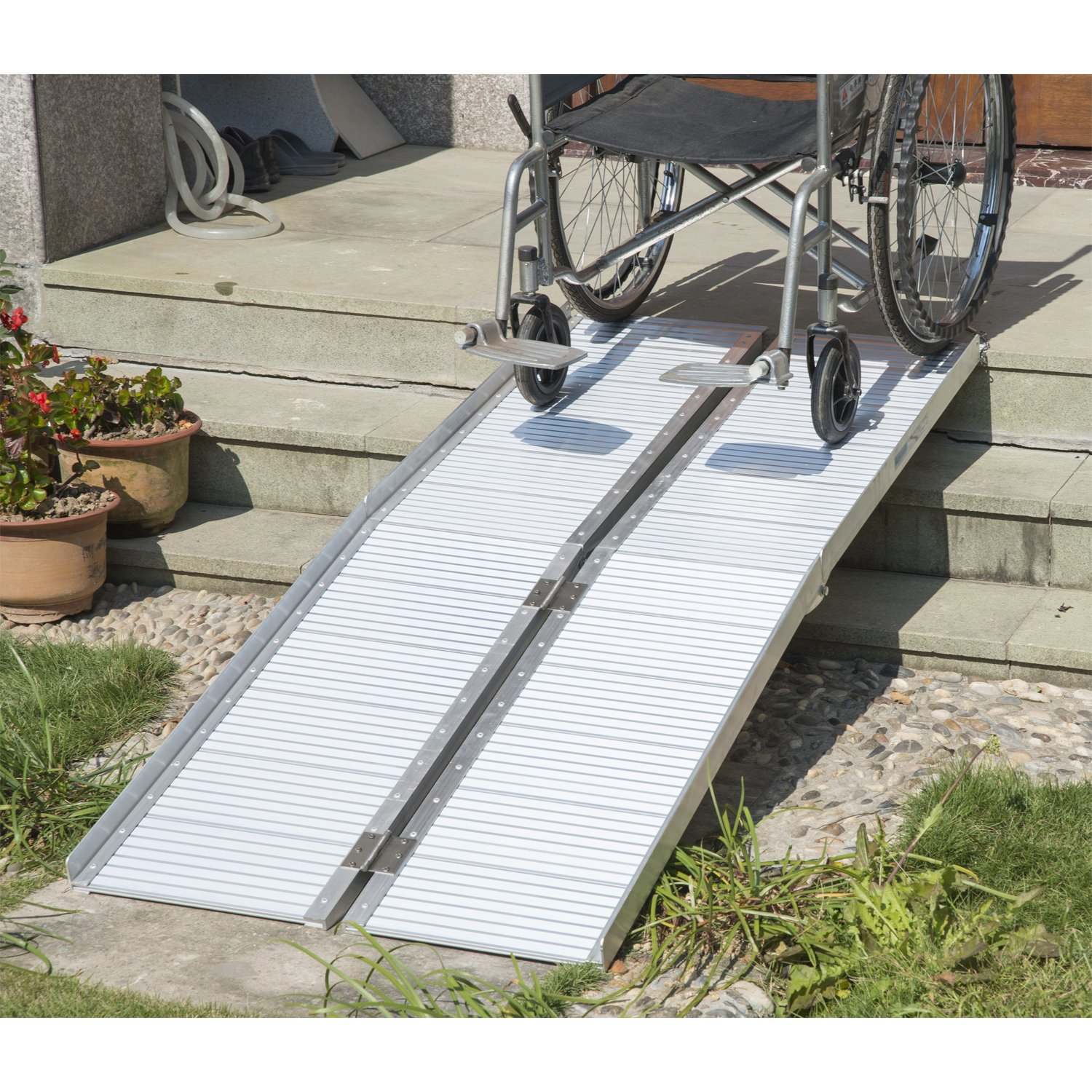 HOM 6ft Folding Aluminum Wheelchair Ramp Scooter Portable