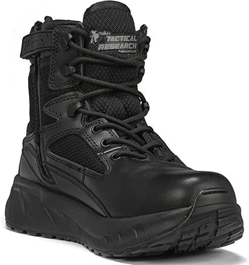 Photo of a black tactical boot with high sole, lacs looped in place, product brand patch stitched onto the tongue.