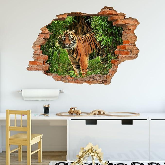 nikima Loch in der Wand 092 Wandtattoo Leopard Baum Dschungel grün
