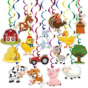 Farm Animal Party Hanging Swirl Decorations 30 Pack Party Banner Hanging Swirl Banner Decor Animal Farm Party Supplies for kids Birthday Party Baby Shower