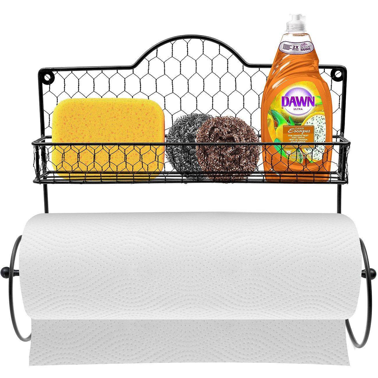Sorbus Paper Towel Holder, Spice Rack and Multi-Purpose Shelf—Wall Mounted Storage for Kitchen Accessories, Towels, Toiletries, Supplies, etc.—Ideal for Kitchen/Bathroom—Made of Steel (Black) by Sorbus (Image #1)