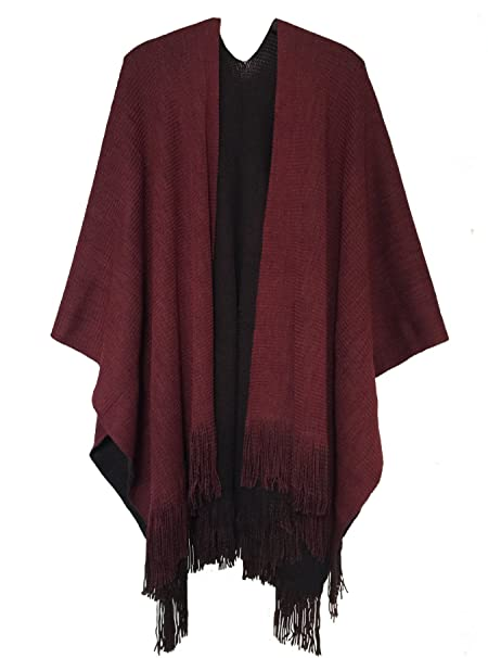 c0e603862 Ourlove Fashion Women's Knitted Open Poncho Cape Ladies Christmas Shawl  Blanket Wrap with Tassel (Black