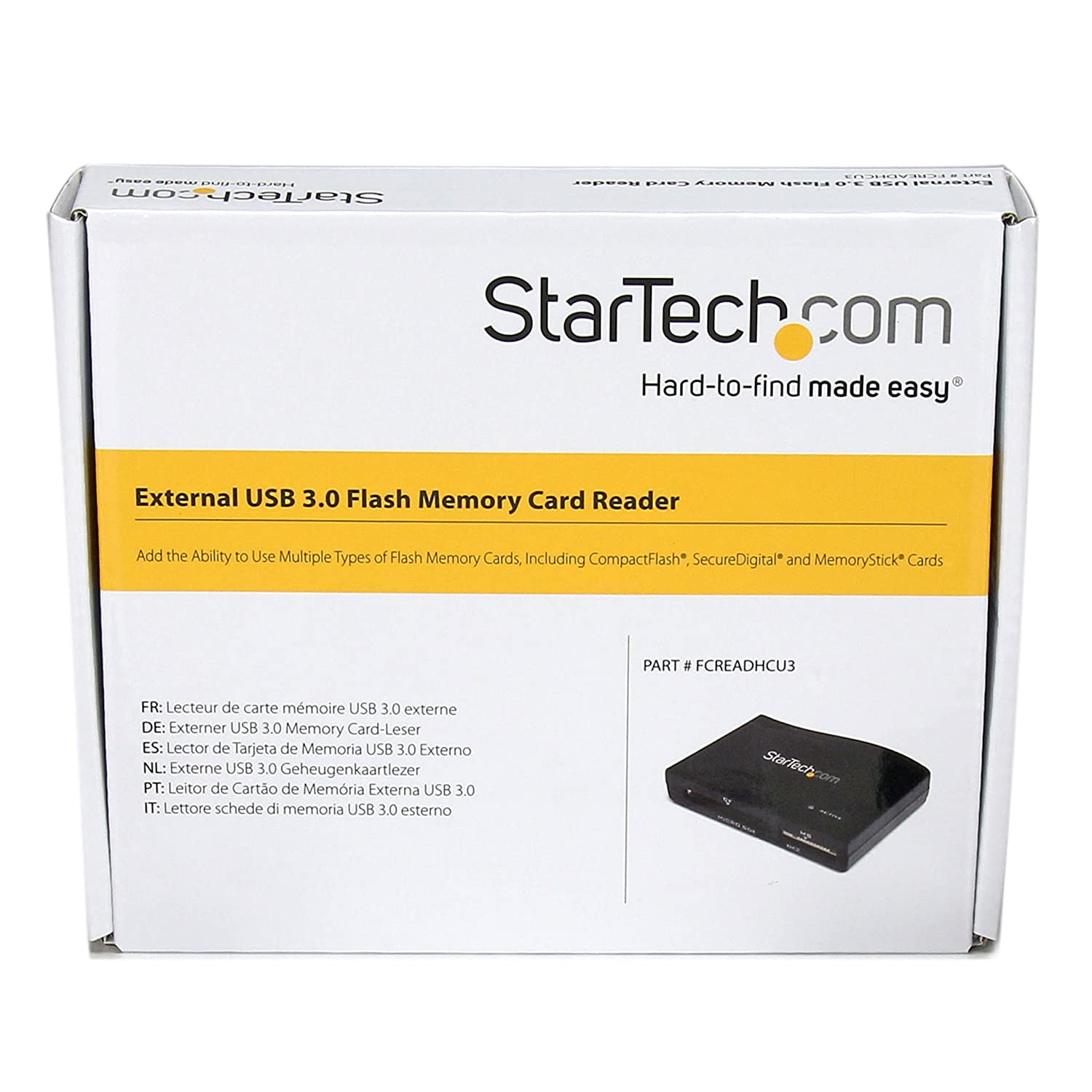 StarTech.com USB 3.0 Multi Media Flash Memory Card Reader - Card Reader (Multi-Format) - USB 3.0 - FCREADHCU3
