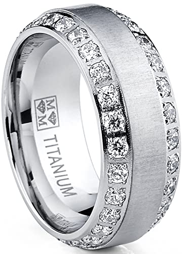 Mens Titanium 8mm Cubic Zirconia Wedding Engagement Comfort Band Ring 3U9AeAj