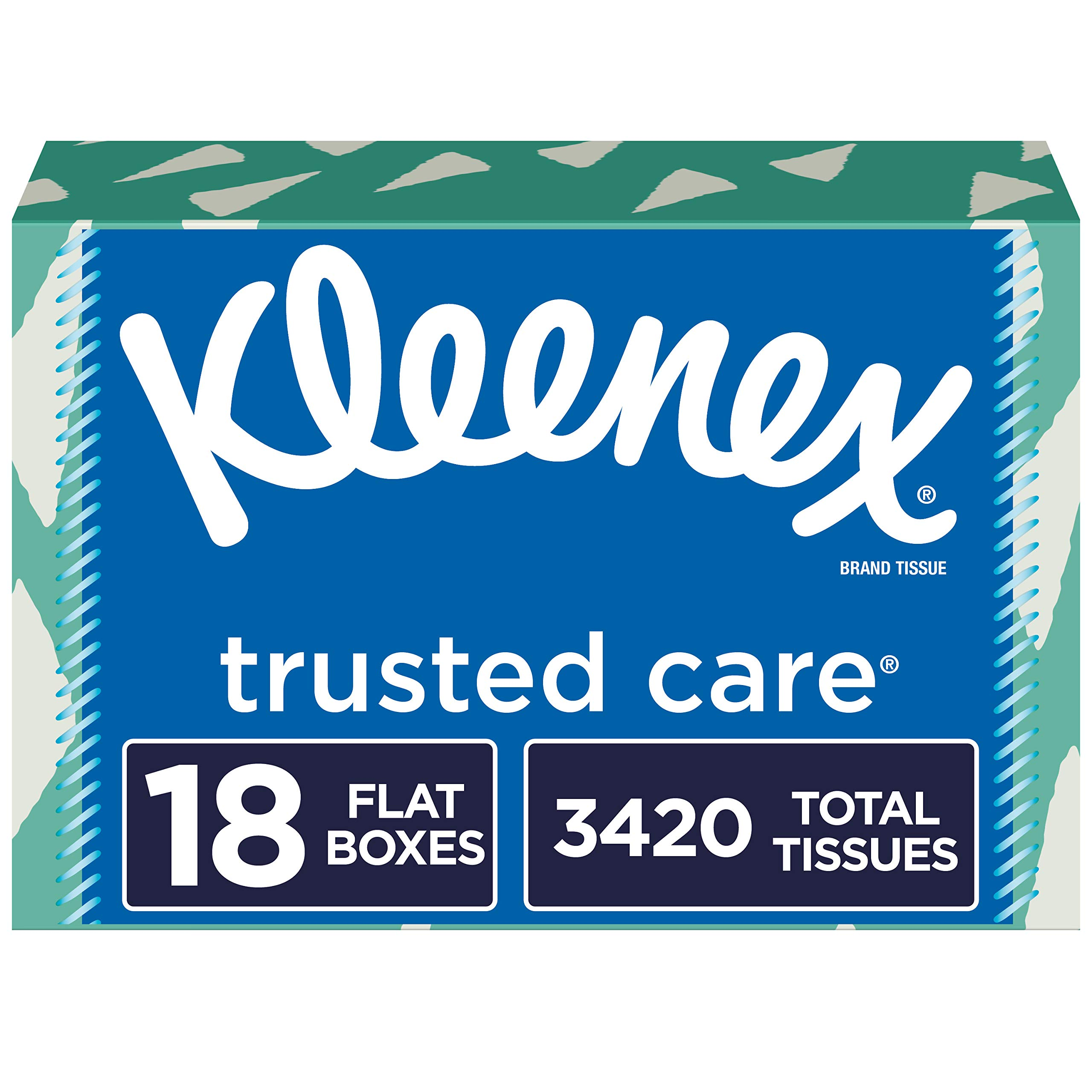 Kleenex Trusted Care Facial Tissues, 18 Flat Boxes, 190 Tissues per Box (3,420 Tissues Total)