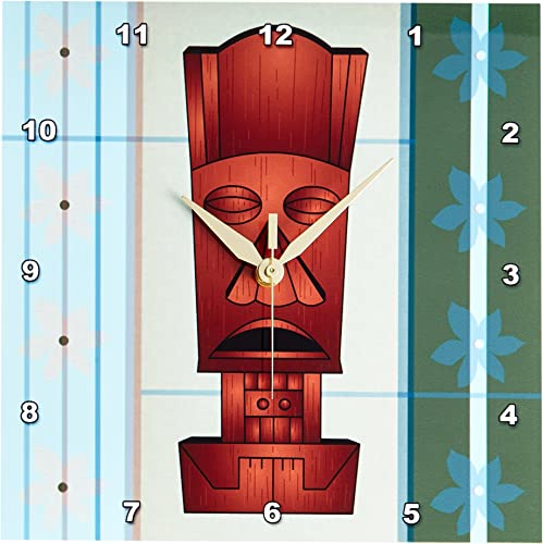 3dRose DPP_77493_1 Wood Grain Tropical Tiki Mask Hawaiian Flowers Orange Blue and Green Wall Clock, 10 by 10-Inch