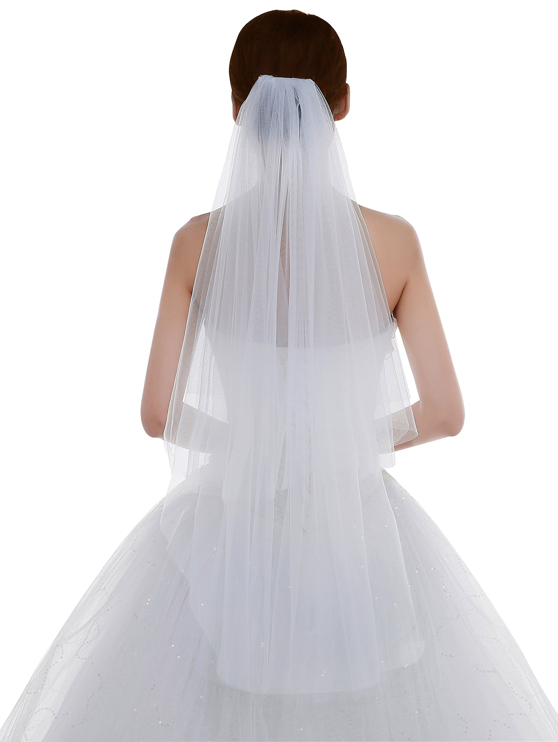Edith qi Women's Simple Tulle Bridal Veil Short Wedding Veil
