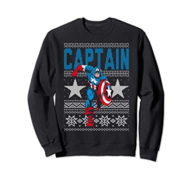 Amazoncom Marvel Captain America Ugly Christmas Sweater Sweatshirt