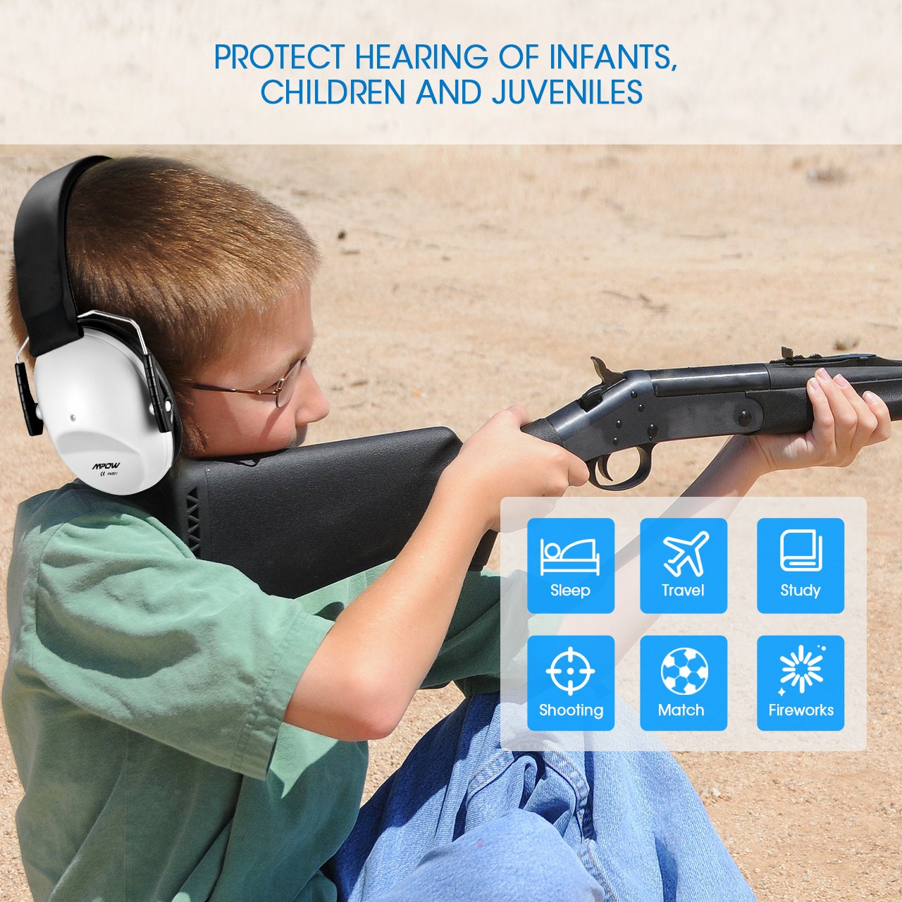 Mpow 068 Kids Ear Protection Safety Ear Muffs, NRR 25dB Noise Reduction Hearing Protection for Kids, Toddler Ear Protection for Shooting Range Hunting Season for Kids Toddlers Children (White) by Mpow (Image #4)