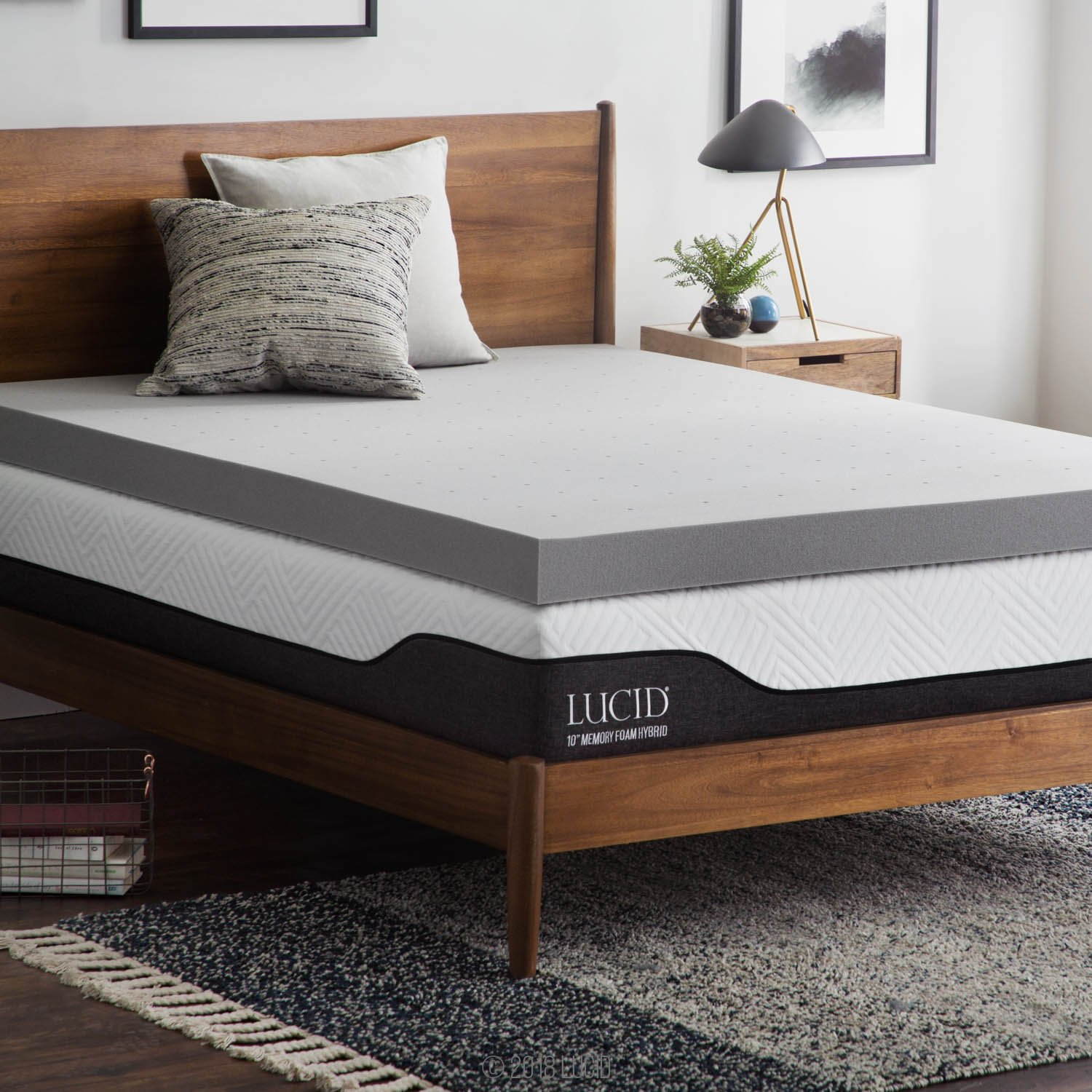 Lucid 4 Inch Bamboo Charcoal Memory Foam Mattress Topper