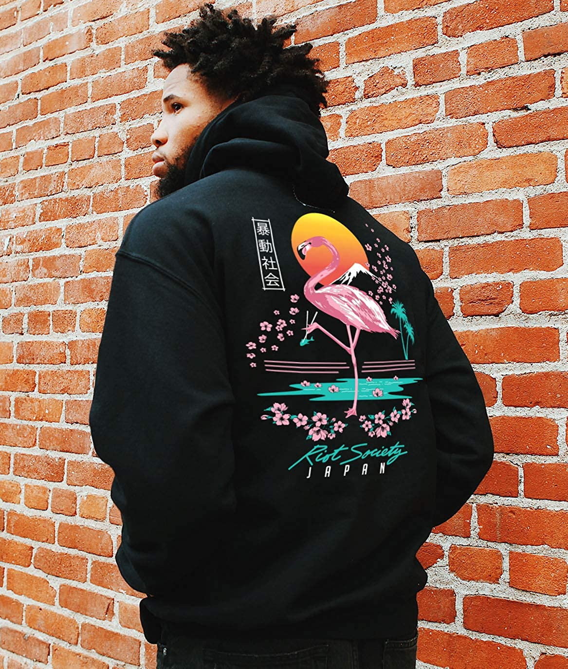 Riot Society Herren-Kapuzenpullover, Sweatshirt mit Abbildung Flamingo Blossom (Schwarz)