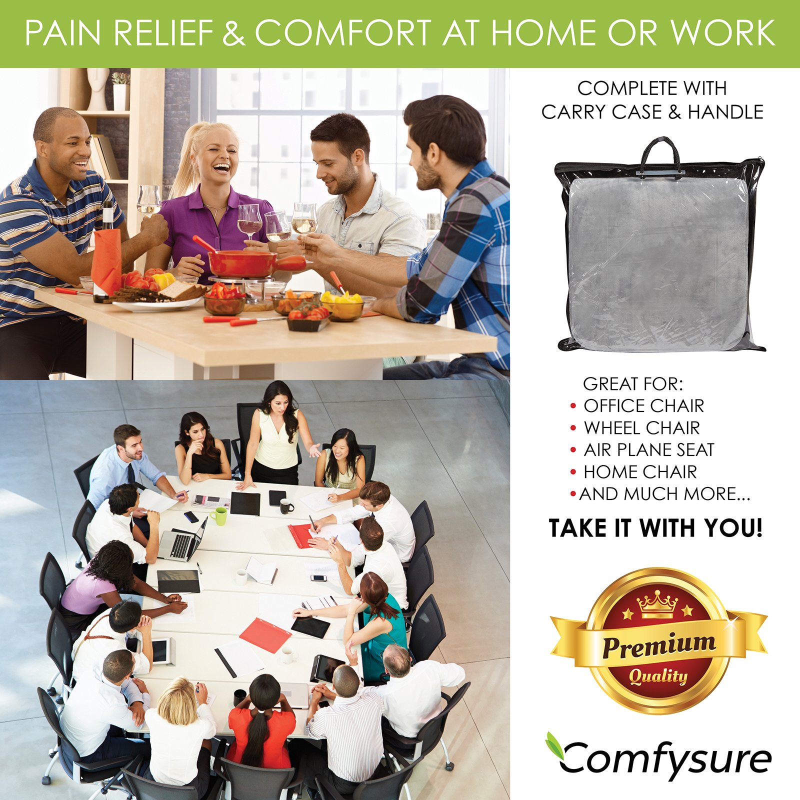 ComfySure Extra Large Firm Seat Cushion Pad for Bariatric Overweight Users - Firm Memory Foam Chair Support Pillow for Wheelchair, Office & Car 19''x18''x3'' (Grey) by ComfySure