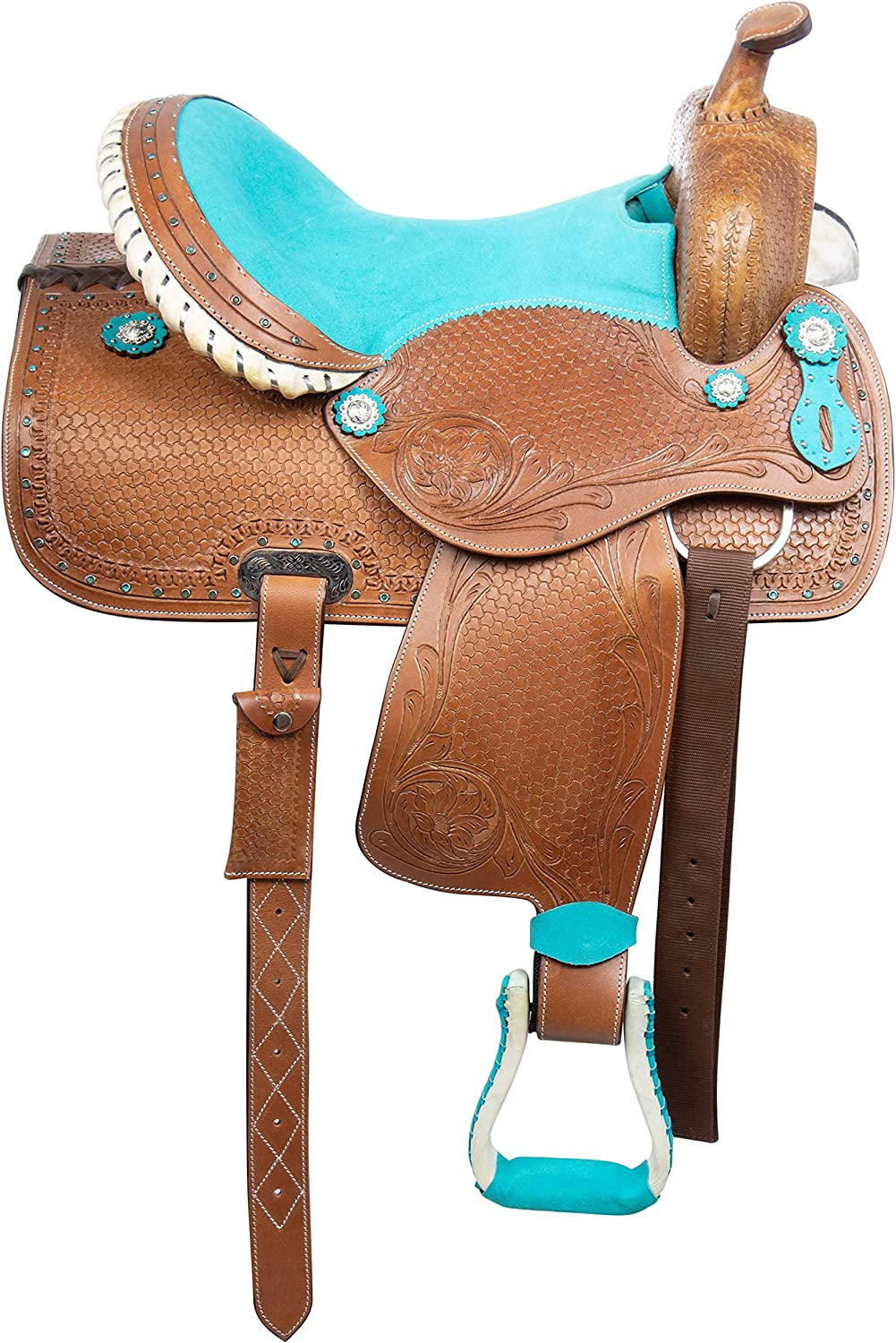 Details about  /COWBOY WESTERN SADDLE BARREL RACING SHOW RACER TOOLED USED LEATHER TACK 15 16