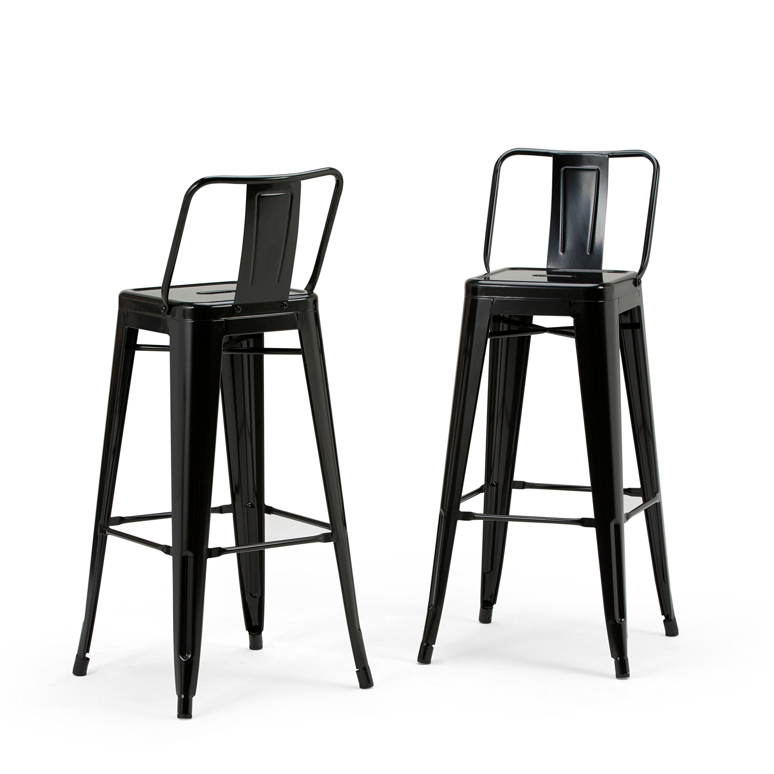 Simpli Home Rayne 30 inch Metal Bar Stool, Black (Set of 2)