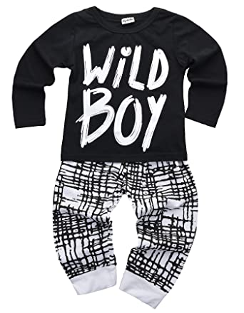 5f59880f8192 Amazon.com  Baby Boys Clothes Set Wild Boy Long Sleeve T-Shirt Tops ...