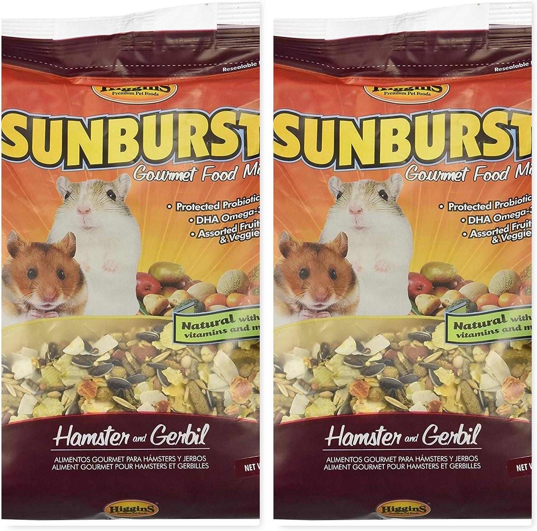 Higgins 2 Pack Sunburst Gourmet Hamster & Gerbil Food. 2.5 lb. Ea. Hamster Food, Gerbil Food 2 Bags 5 Pounds Total